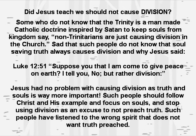 Did Jesus teach we should not cause division?