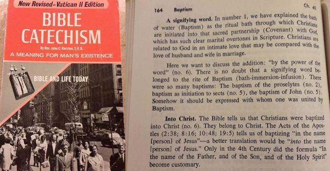 Catholic Catechism baptism in the name of Jesus