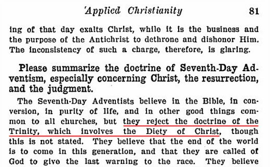 James Gray says Adventists reject the Trinity