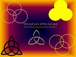 Three phases of the sun god and the triquetra